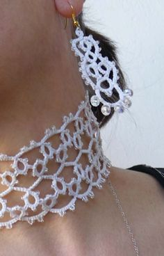 Handmade tatting earrings  and necklace  by ShopGift on Etsy, $45.00