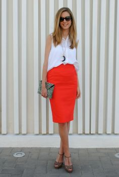 OFFICE[summer]: red pencil skirt; white sleveless shirt