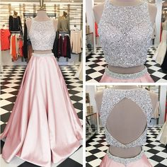Pink Satin Two Piece Prom Dresses Ball Gowns Keyhole Back Evening Dress,Two Piece Top Sequin A Line Long Satin Formal Elegant Pink Prom Dress Evening Dress Sequin Prom Dresses, Cute Prom Dresses, Beaded Prom Dress, Ball Gowns Prom, Beautiful Prom Dresses, Ball Dresses, Pretty Dresses, Homecoming Dresses, Formal Dresses