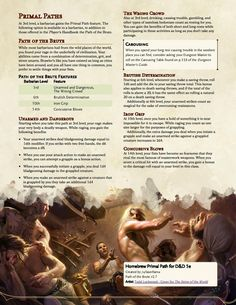 Path of the Brute - A Primal Path for underhanded Barbarians that want to punch and grapple their foes into submission! Dungeons And Dragons Rules, Dungeons And Dragons Classes, Dnd Dragons, Dungeons And Dragons Homebrew, Barbarian Dnd, Dnd Stories, Dnd Classes, Dnd Races, Dnd 5e Homebrew