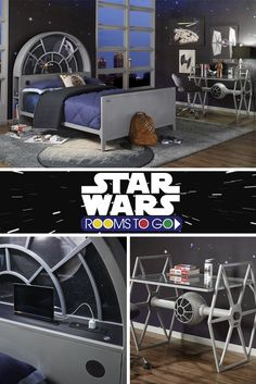Create your own galaxy! May the force be with you when deciding on which of our Star Wars beds will be the one you bring home. You don't have to play a game of sabacc to get your hands on your very own Millennium Falcon™ twin panel bed. Star Wars Bett, Star Wars Kindergarten, Decoracion Star Wars, Star Wars Zimmer, Deco Gamer, Star Wars Bedroom, Star Wars Room Decor, Deco Originale, My New Room