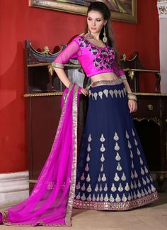 http://www.sareesaga.in/index.php?route=product/product&product_id=19986 Work	:	Embroidered Resham Work	 Style	:	A - Line Lehenga Shipping Time	:	10 to 12 Days 	Occasion	:	Wedding Reception Ceremonial Fabric	:	Georgette	 Colour	:	Blue For Inquiry Or Any Query Related To Product,  Contact :- +91 9825192886