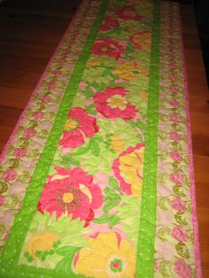 Quilted Table Runner, Spring Summer Yellow Pink Flowers with Green Leaves Table Decor Handmade by TahoeQuilts on Etsy