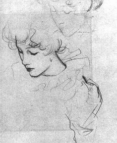 Pencil Portrait Mastery - Polly Barnard or The Study for Carnation, Lily, Lily, Rose (ca. by John Singer Sargent - Discover The Secrets Of Drawing Realistic Pencil Portraits Life Drawing, Figure Drawing, Drawing Sketches, Painting & Drawing, Art Drawings, Drawing Portraits, Art And Illustration, Pencil Portrait, Art Inspo