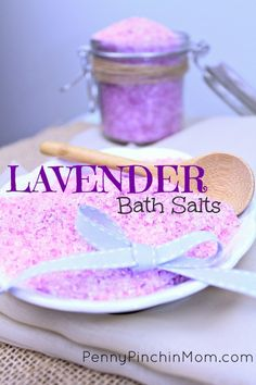 Super easy recipe for making your very own lavender bath salts!Relax in a nice hot bath with these absolutely delightful Lavender Bath Salts. With just a few simple ingredients you can make the perfect blend of Lavender essential oils and epson salt. Great gift idea for Christmas.