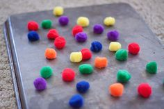 magnetic pom-poms -- hot glue magnets on pom-poms and put on a stove burner cover (cheap at a dollar store) or cookie sheet; kids can make pictures, designs, letters, and so on