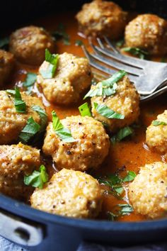 Chicken Meatballs with Thai Coconut Curry Sauce by The Garlic Diaries