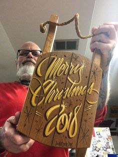 "Excited to share this item from my shop: Not too early to get ready for Christmas, ""Merry Christmas handpainted sled Wooden Christmas Crafts, Christmas Signs, Christmas Fun, Pix Art, Pinstriping Designs, Sign Writing, Antique Signs, Garage Art, Kustom Kulture"