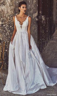 elbeth gillis bridal 2017 sleeveless illusion deep vneck aline wedding dress (annabelle) mv