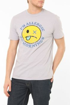 Local Celebrity Allergic To Mornings T-Shirt in Silver
