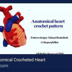 Pattern Design, Free Pattern, Heart Month, Artist And Craftsman, Purple Lilac, Anatomy, Crochet Patterns, Tutorials, Science