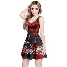 394b47d7d4e4 CowCow Womens Grunge Skulls Skeleton Bones Horror Dark Sleeveless... ❤  liked on Polyvore featuring dresses, sleeveless dress, skeleton print dress,  ...