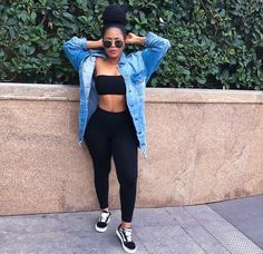 black, leggings, and tube top image