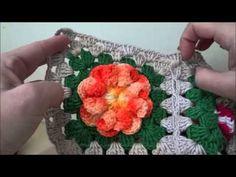 YouTube Crochet Flower Squares, Crochet Flower Tutorial, Crochet Granny, Crochet Flowers, Knit Crochet, Knitting Videos, Crochet Videos, Crochet Snowflakes, Crochet Pillow