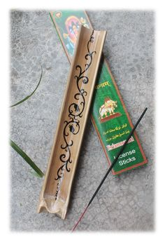 Bamboo Incense Holder with Black Floral Ornaments (Set) by Malatichan on Etsy