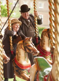 You're always a kid on a merry-go-round. Downton Abbey cast enjoying time away from work. Village Fete, Growing Old Together, Merry Go Round, Old Age, Carousel Horses, Young At Heart, Downton Abbey, Getting Old, Alter