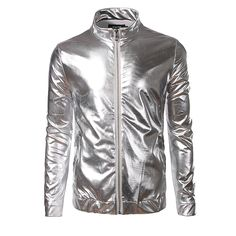 New Shiny Trend Metallic Sliver Jacket Men/Women  Night Club Fashion Stand Collar Front-Zip Lightweight Jacket For Singer -*- AliExpress Affiliate's buyable pin. Detailed information can be found on www.aliexpress.com by clicking on the VISIT button #MensJackets