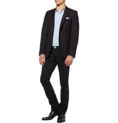 Burberry BritShoreditch Slim-Fit Jeans MR PORTER, Lanvin jacket and shirt, Charvet pocket square and Ralph Lauren Purple Label shoes.