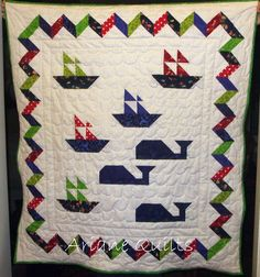 https://flic.kr/p/az6dQ4 | Sail Away Baby Quilt -2 | This is an original quilt that I designed, pieced and quilted myself. This is a gift for my niece, who had a baby boy. It is backed with cuddle chenille, and is very soft and cuddly.