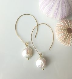 Freshwater Pearl Earrings  Coin Pearl Earring by GlassPalaceArts, $29.00