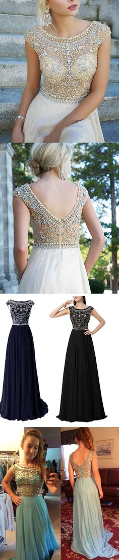 2015 long chiffon prom dress with floral beading pattern, #evening #party