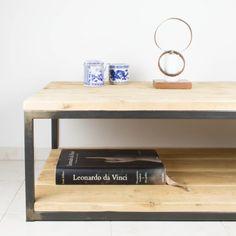 Mesa de centro de hierro y madera de pino recuperada   Antic&Chic