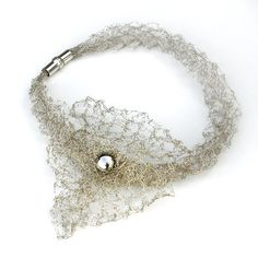 Necklace   Magda Szopinska.  Knitted from silver wire.