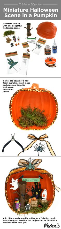 Create a miniature Halloween scene using miniatures from your Michaels Store