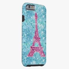 Awesome iPhone 6 Case! Girly Pink Eiffel Tower Trendy Teal Glitter Photo iPhone 6 Case. It's a completely customizable gift for you or your friends.