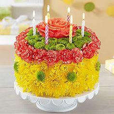 Birthday Wishes Large Yellow Flower Cake