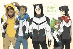 Keith, Pidge, Shiro, Lance and Hunk in Voltron Lion hoodies from Voltron Legendary Defender
