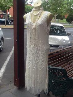 1920s Charleston Style CreamFlapper Dress by JulieVintageBoutique