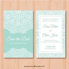 Cartão de casamento verde e branco com mandala Vetor grátis