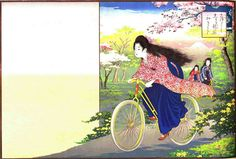 新版引札見本帖. 第1 明36(1903)年【406-5】  自転車に乗った美女学生のイメージは一般的なものとなり、引札(当時のチラシ広告)にも使われました。この資料はその見本で、本来であれば左の空白部分に商店などの広告が入ります。