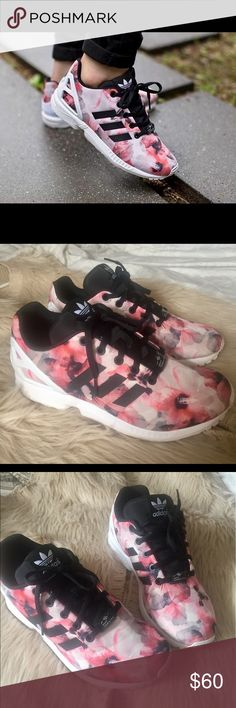 Adidas ZX Flux floral 🌺🌸 Super cute floral adidas. Almost in a new condition. Size is equivalent to a 7 in women's , but I'm 7 1/2 and they fit good 😊 adidas Shoes Sneakers