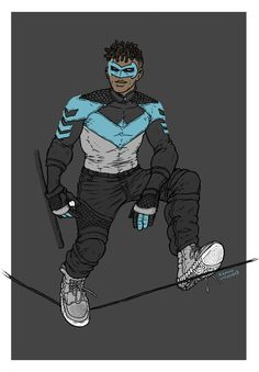 This redesign of Nightwing from Ramon Villalobos makes me feel all warm and fuzzy inside. Not only is the new suit practical and gritty, but it's also incredibly fashionable. It feature the n… Superhero Characters, Black Characters, Comic Book Characters, Comic Books Art, Comic Art, Black Comics, Dc Comics, Character Creation, Character Art