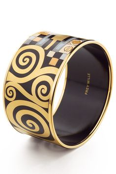 Hommage à Gustav Klimt - Adele Bloch Bauer  Bracciale Diva in smalto e oro giallo.  Tutta l'arte di un grande della pittura, tutta l'arte di un team di artisti che riesce a condensare sulla piccola superficie di un gioiello tanta storia!