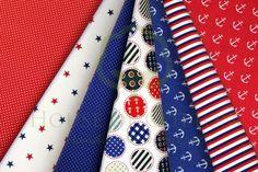 Marine cotton fabric set navy blue & red / Zestaw tkanin marynarski granatowo-czerwony