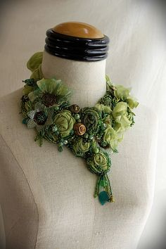 GREEN GODDESS II Mixed Media Textile Statement Necklace