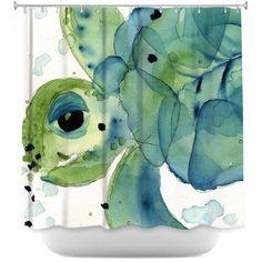 Unique Shower Curtains from DiaNoche Designs   Dawn Derman - Sea Turtle   Sea Turtle   Green Blue White Black