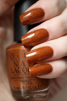 Bronzed To Perfection OPI - this reminds me of the light brown M&M's that they discontinued Fancy Nails, Trendy Nails, Cute Nails, Fall Nail Colors, Nail Polish Colors, Opi Polish, Bronze Nails, Copper Nails, Brown Nail Polish