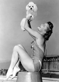 Debbie Reynolds & & white Toy Poodle
