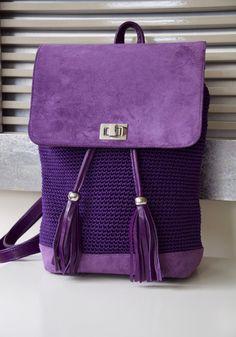 Crochet Suede Shoulder Bag by PELLSatelier on Etsy