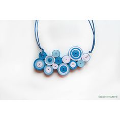 Geometric Necklace, Blue Bubble Necklace, Paper Quilling Pendant,... ($30) ❤ liked on Polyvore featuring jewelry, necklaces, pendant necklaces, summer necklaces, geometric statement necklace, blue statement necklaces and blue necklace