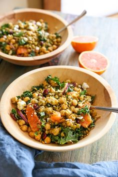 Nutrient-packed lentil, chickpea, and kale salad warmly spiced with curry powder and studded with dried cranberries, citrus fruit, and feta. This well-rounded salad makes for an excellent side dish…