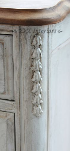 RPK Interiors: Creating Patina on this French Buffet French Linen, Paris Grey, Old White