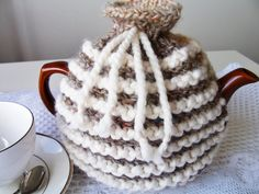 Rustic knitted brown and cream striped yarn teapot cozy - traditional cozy - knitted teapot cozy