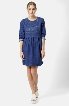Topshop Embroidered Denim Smock Dress available at #Nordstrom
