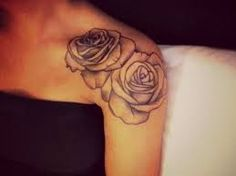 black and red rose shoulder tattoo - Google Search