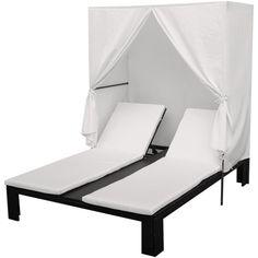 "vidaXL Sun Lounger Poly Rattan Black. Rattan color: Black. Cushion & curtain color: Cream white. Material: PE rattan + powder-coated steel frame. Cushion & curtain material: 100% polyester. Overall dimensions: 75"" x 59"" x 71"" (L x W x H)."
